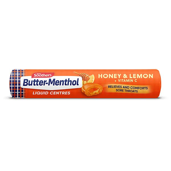 BUTTER-MENTHOL Liquid Centres Honey & Lemon (10 lozenges)